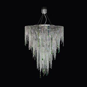 Circus SS4065-75×90-N-G, Hängeleuchte mit transparenten und grünen Kristallen