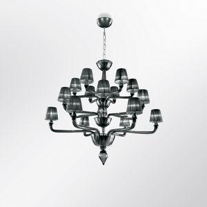Coco DP0371-6+6+6, Individualisierbar Glas Kronleuchter mit Lampenschirmen
