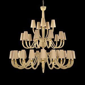 Dandy DP0354-20+10+5-VAW, Kronleuchter mit Lampenschirmen aus Baumwolle, in Muranoglas