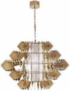 Diamante new Lampe, Kronleuchter mit Stahl Blätter, blass Gold-Finish