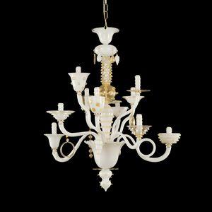 Goblin L1075-10-WCK, Leuchter weiß und Blattgold, venezianischen Stil