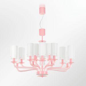 Tribeca BLP0385-18-R, Kronleuchter in rosa Glas mit weißen Lampenschirmen