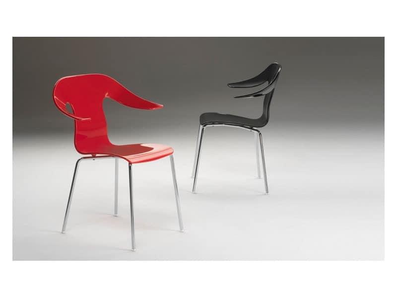 Sessel aus kunststoff verchromtem gestell idfdesign for Sessel kunststoff design