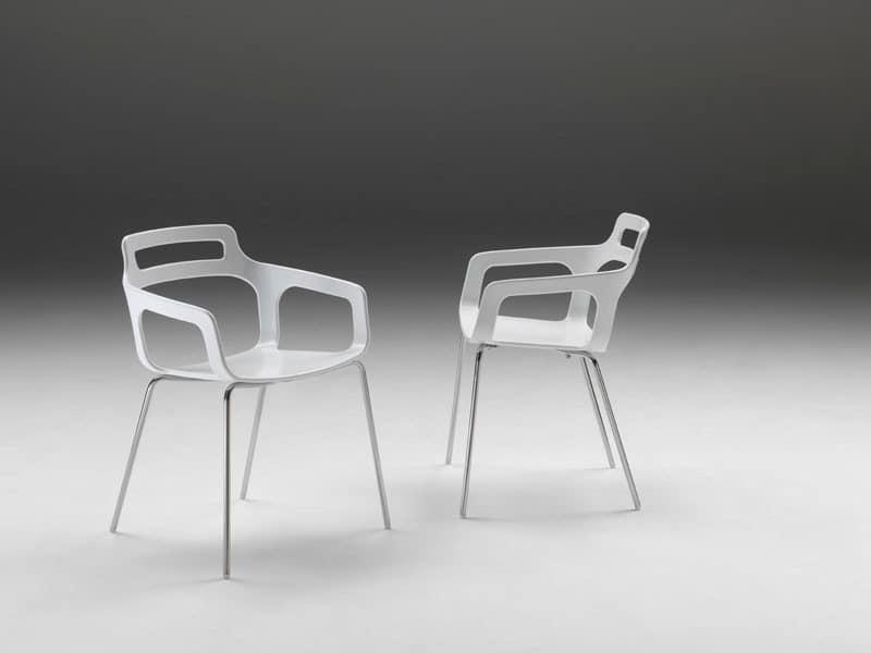 Hole, Sessel mit Gestell aus Edelstahl
