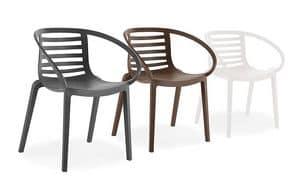1713, Kunststoff-Stuhl für den Außenbereich, Rückenlehne mit Lamellen
