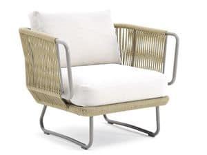 Babylon Sessel, Sessel in Kunststoffseil abgedeckt, für den Außenbereich
