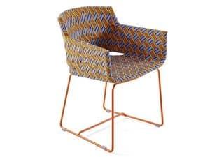 Kente Stuhl mit Armlehnen, Moderne Außen-Sessel, Weberei in Kunstfaser