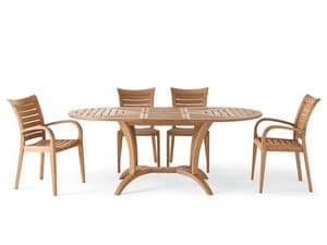 Mirage Sessel, Sessel aus Holz mit Armlehnen, für außen