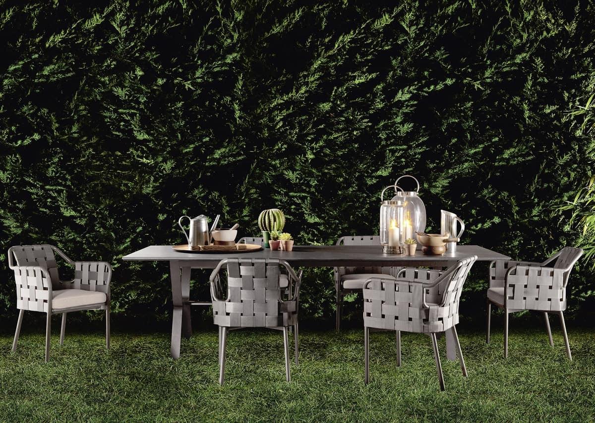 Stuhl aus aluminium und kunstfaser für den außenbereich idfdesign