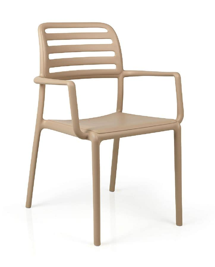 kunststoffstuhl mit armlehnen f r den au enbereich geeignet idfdesign. Black Bedroom Furniture Sets. Home Design Ideas