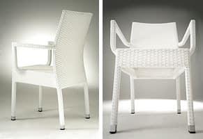 PL 900, Moderne stapelbarer Stuhl mit Armlehnen, für Eiscafes