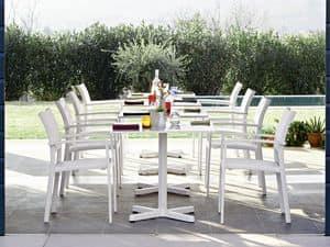 Victor Stuhl mit Armlehnen, Stuhl mit Armlehnen, aus Aluminium, für Gärten und Terrassen