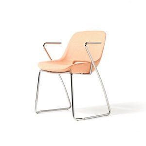 Clea-Schlitten-Sockel mit Armlehnen, Stuhl mit Armlehnen, Metallschuhboden