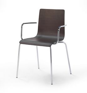 Tesa wood AR, Stapelbarer Stuhl aus Metall, Holzkern
