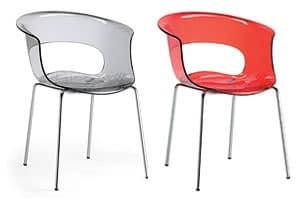 Miss B-Sessel, Sessel in Chromstahl, Gehäuse aus Polycarbonat