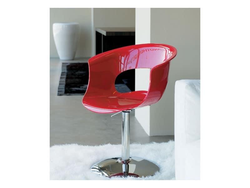 Miss b up, Drehstuhl, Gestell aus verchromtem Stahl, Acrylschale