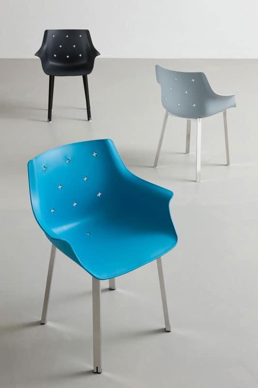 More NA, Stuhl mit Armlehnen, aus verchromtem Metall, für die Außenseite