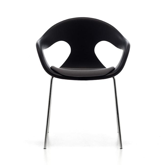 Sunny plastic 4L, Eleganter Stuhl, bequem Schale aus Polypropylen, stapelbar