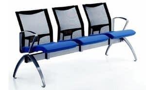 AVIANET 3600 B3 + OPT1, Sitzreihen mit Mesh- Rückenlehne und Armauflagen