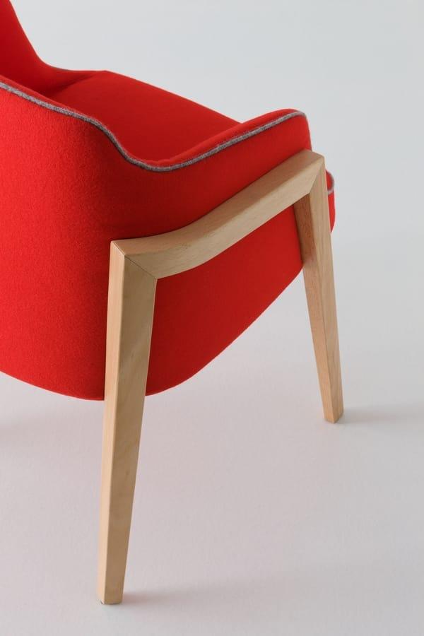 Chevalet BL, Entwerfen Polstersessel mit Buchenholz Beine