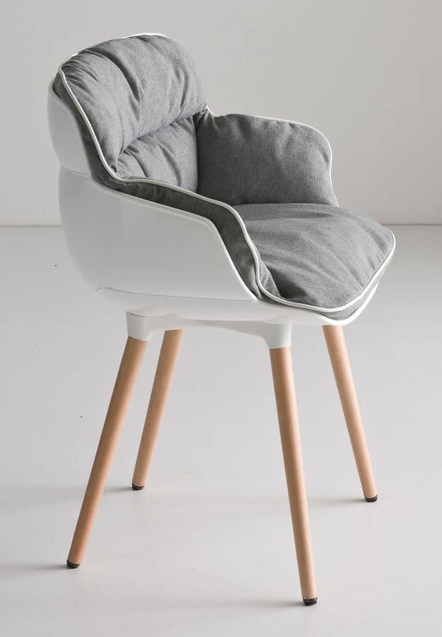 Choppy BL, Design-Sessel mit vier Beinen in Buche, Polymerhülle