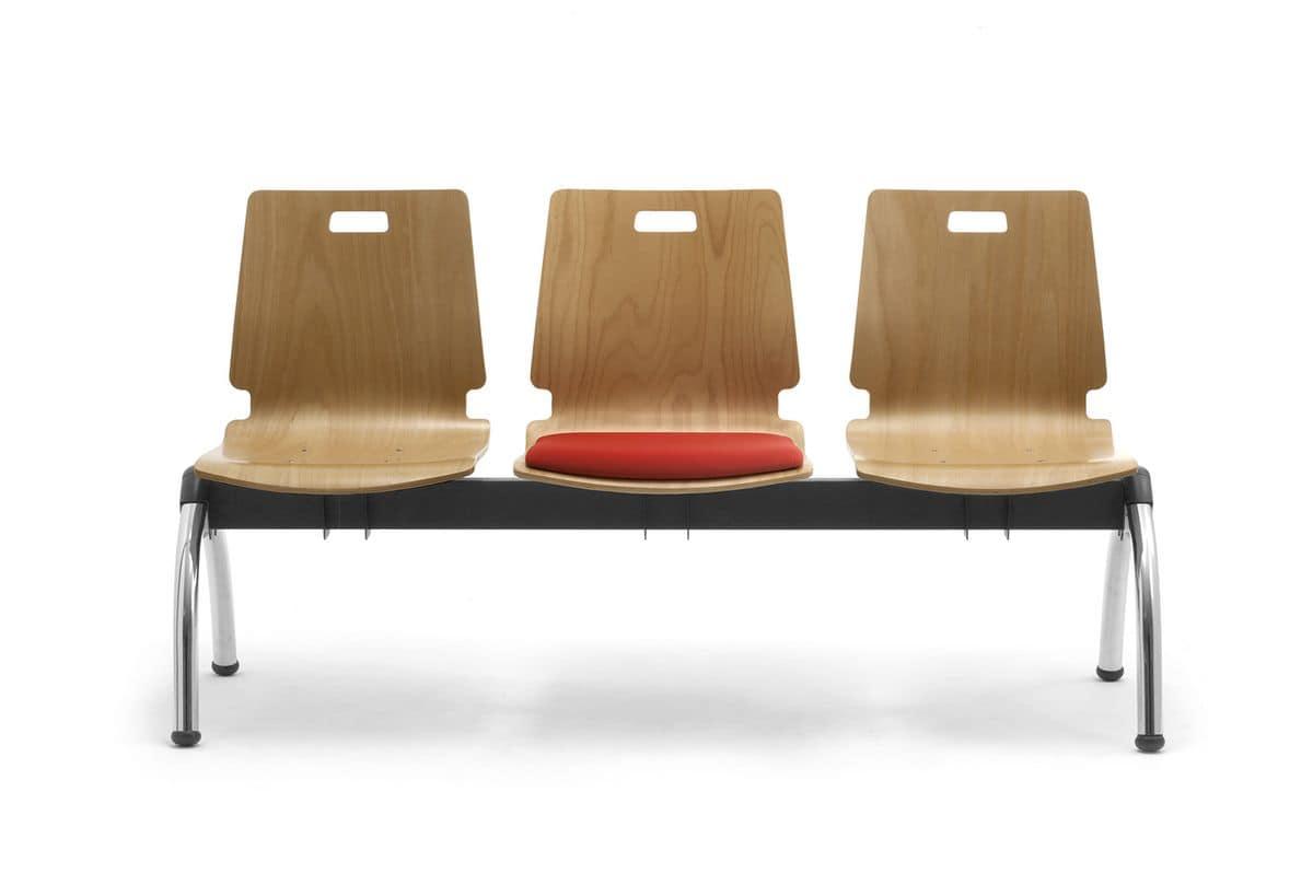 Cristallo bench with table, Bank mit Sperrholzsitze, für Warteräume