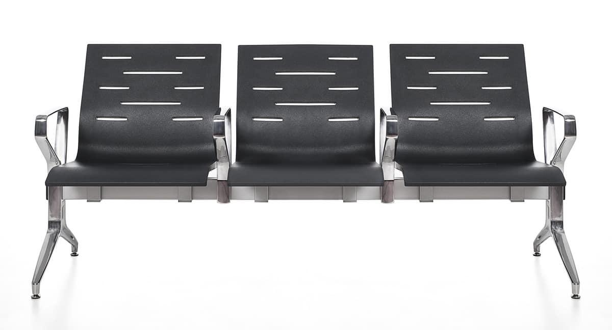Keyport, Stuhl auf dem Balken, aus Stahl und Polyurethan, für Wartezimmer