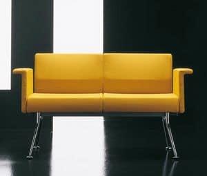 Ypsilon 2p, Einfache Sofa mit verchromtem Metall, für den Objektbereich
