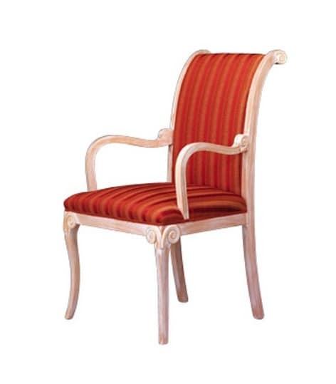 1091, Klassischer Stuhl mit Armlehnen, in Buche, für Wartezimmer