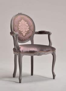 BRIANZOLA OVALE Stuhl mit Armlehnen 8018A, Stuhl im Stil Louis XV, oval zurück, für Hotels