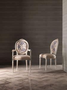 CARLA' sessel 8662A, Stuhl mit Armlehnen, Rückenmedaillon, für Marinemöbel