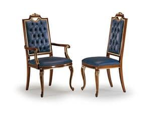 CARLO MAGNO armchair 8087A, Stuhl mit gesteppten hoher Rückenlehne, Kopfende des Tisches