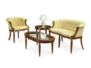 HILTON armchair 8118A, Klassische Sessel, in gesteppten Lederbezug