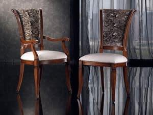 IRIS Sessel 8523A, Esszimmerstuhl aus Holz mit Polsterung, Kopf des Tisches