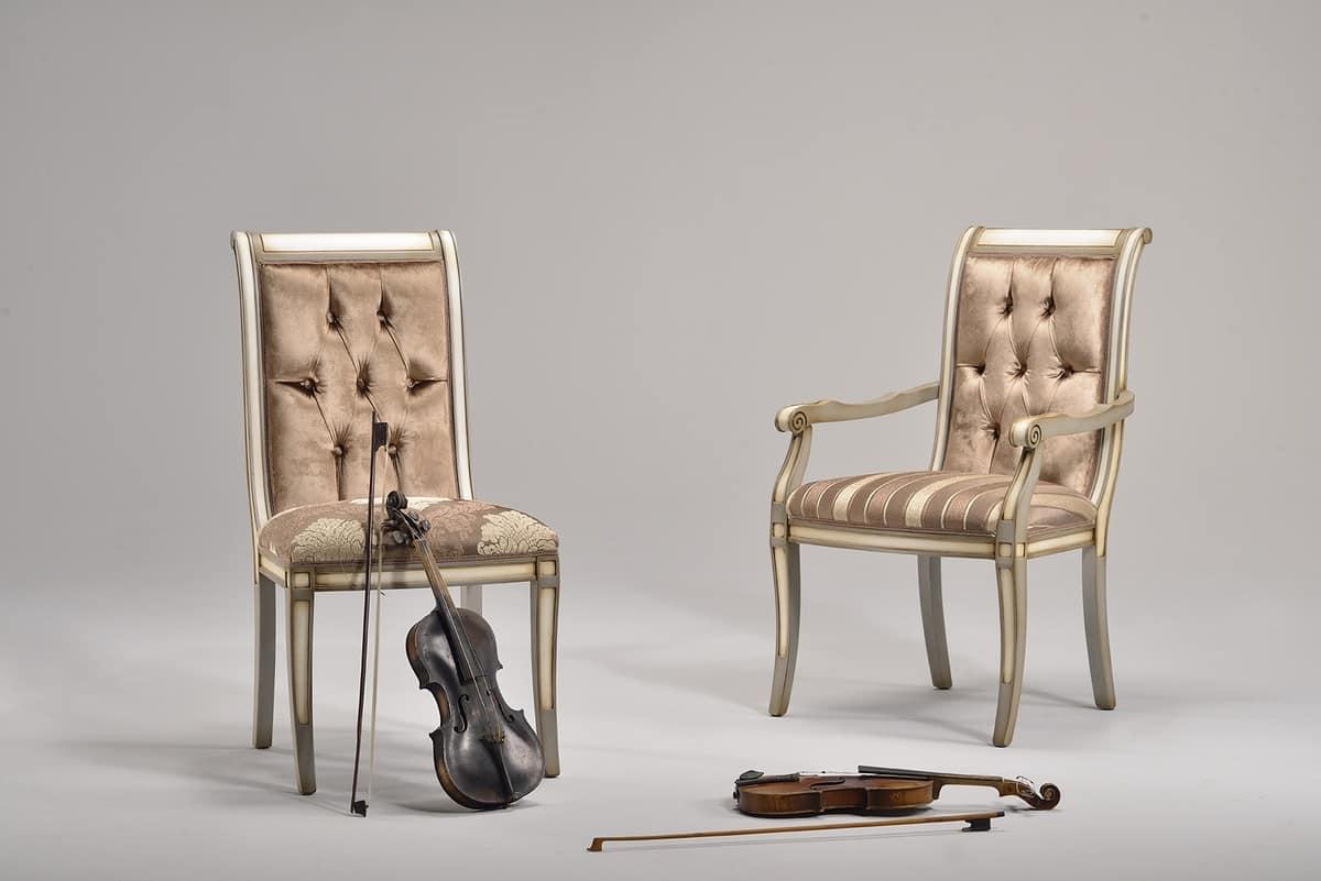 LUCREZIA Stuhl Mit Armlehnen 8220A, Klassischer Stuhl In Buche,  Verschiedene Farben, Für Das