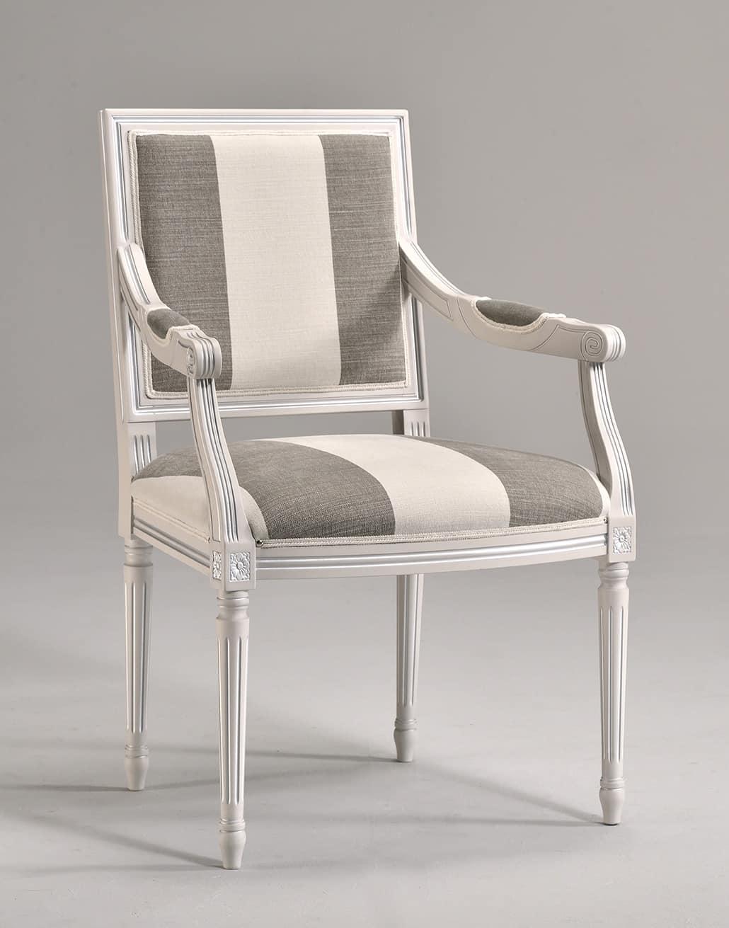 LUIGI XVI QUADRA armchair 8019A, Stuhl Kopf des Tisches, aus massiver Buche, für die Gaststätten