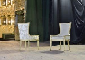 MAEVA Sessel 8650A, Gepolsterte Sessel aus massiver Buche, für historische Bar