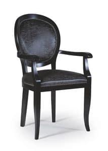 Maya Stuhl mit Armlehnen, Esszimmerstuhl aus dunklem Holz, klassischen Stil