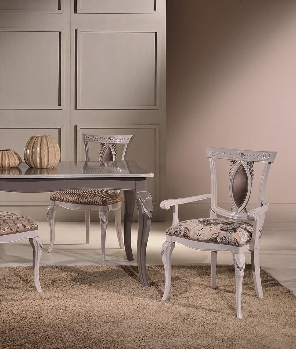 MICHY armchair 8169A, Luxus-Sessel mit Armlehnen aus Holz geschnitzt
