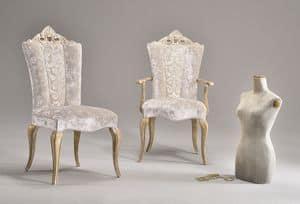 MISSIS sessel 8619A, Klassische Sessel mit Armlehnen, mit geschnitzten Rückenlehne