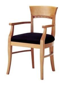 Atene P, Klassicher Stuhl mit gepolsterten Armlehnen