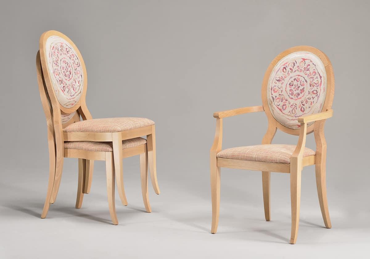 TATI armchair 8084A, Stapelstuhl mit Armlehnen, gepolsterter Sitz