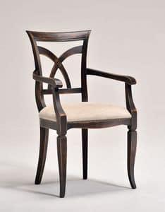 VICTORY armchair 8092A, Sessel mit Armlehnen, aus Buche, gepolsterter Sitz