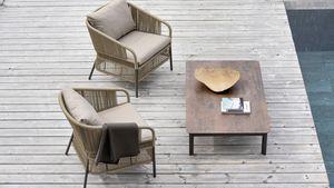Cricket Liegestuhl, Outdoor Lounge Sessel mit gewebter Rückenlehne