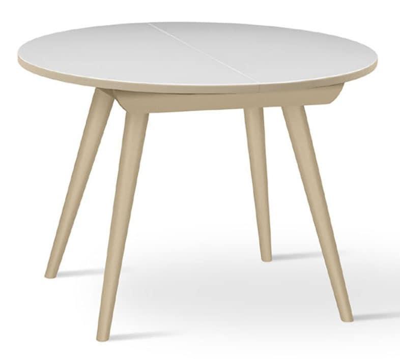 runder tisch aus massiver buche ausziehbar f r k che. Black Bedroom Furniture Sets. Home Design Ideas