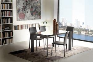 Art. 633 Diamant, Ausziehbarer Tisch aus Metall und Glas, für Esszimmer