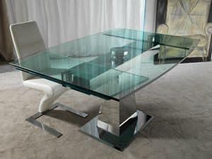 Art. 658 Enterprise, Tisch in Stahl und Glas, mit synchronisierten Verlängerungen