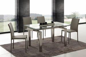 Art. 672 Manhattan, Ausziehbarer Tisch aus Glas und gebürstetem Stahl