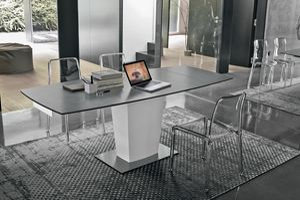 COPERINCO 120 TA184, Moderne ausziehbaren Tisch mit Platte und Verlängerungen aus Glas