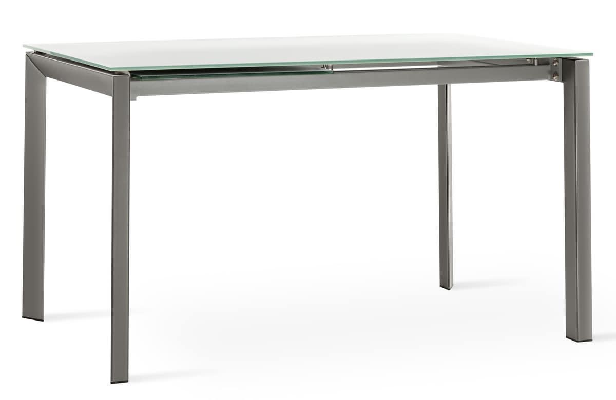 ausziehbaren tisch aus lackiertem metall mit glasplatte idfdesign. Black Bedroom Furniture Sets. Home Design Ideas